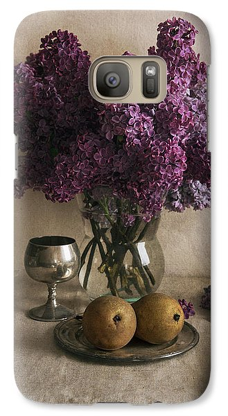 Galaxy Case featuring the photograph Still Life With Pears And Fresh Lilac by Jaroslaw Blaminsky