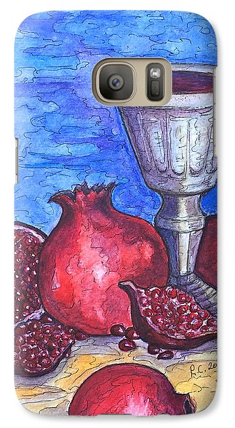 Galaxy Case featuring the painting Still Life With Pomegranate And Goblet 2 by Rae Chichilnitsky