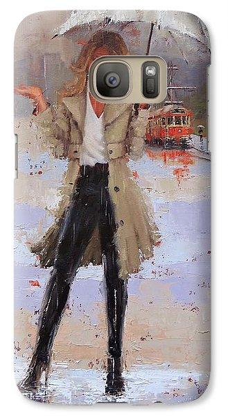 Galaxy Case featuring the painting Still Raining by Laura Lee Zanghetti