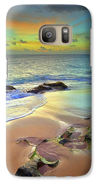 Galaxy Case featuring the photograph Stones In The Sand At Sunset by Tara Turner