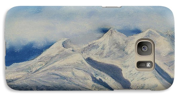 Galaxy Case featuring the painting Storm Clouds Over Winter Mountain Blues by Stanza Widen
