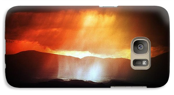 Galaxy Case featuring the photograph Storm Glow Night Over Santa Fe Mountains by Joseph Frank Baraba
