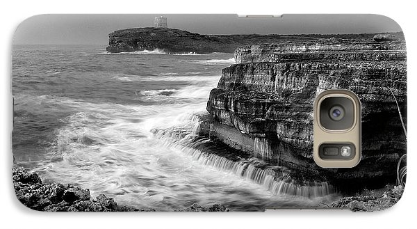 Galaxy Case featuring the photograph stormy sea - Slow waves in a rocky coast black and white photo by pedro cardona by Pedro Cardona