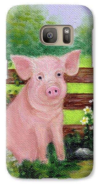 Galaxy Case featuring the painting Storybook Pig by Sandra Estes