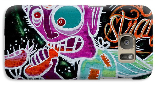 Galaxy Case featuring the painting Strange Graffiti Creature Eaitng Sausagees by Yurix Sardinelly