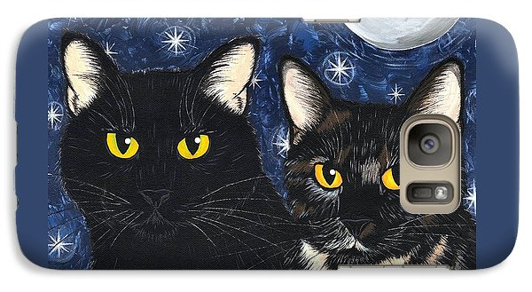 Galaxy Case featuring the painting Strangeling's Felines - Black Cat Tortie Cat by Carrie Hawks