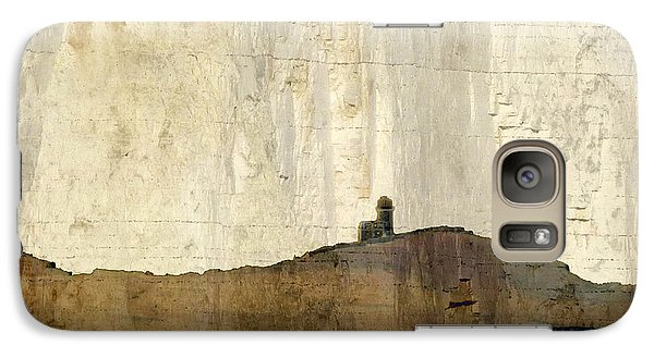 Galaxy Case featuring the photograph Strata With Lighthouse And Gull by LemonArt Photography