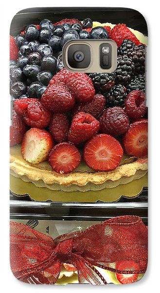 Galaxy Case featuring the photograph Strawberries Rasberries Luscious Dessert Fruit Pie With Red Bow  by Kathy Fornal