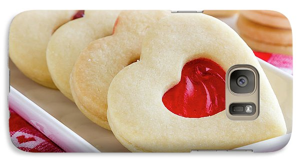 Galaxy Case featuring the photograph Strawberry Jam Filled Heart Cookies by Teri Virbickis
