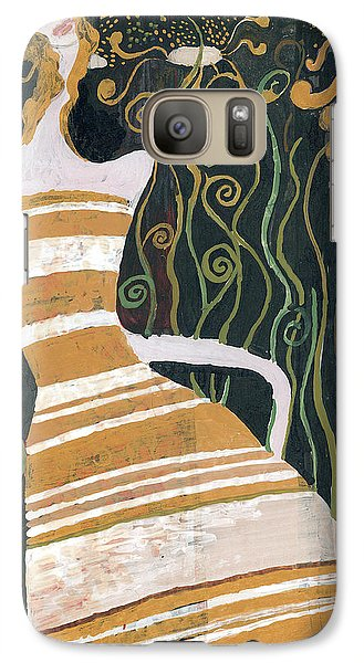 Galaxy Case featuring the painting Stripe Dress by Maya Manolova