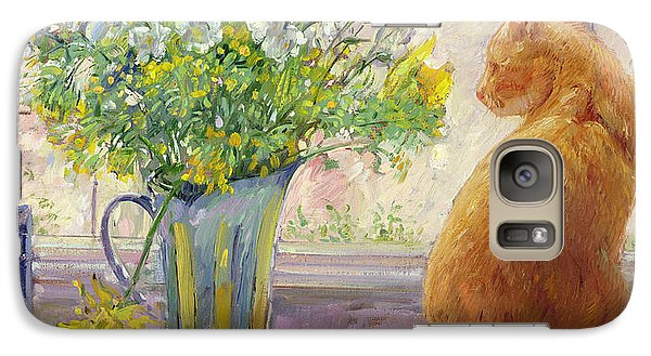 Striped Jug With Spring Flowers Galaxy S7 Case by Timothy Easton