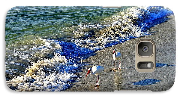 Galaxy Case featuring the photograph Strutting Shadows - White Ibis Strutting On The Beach by Shelia Kempf