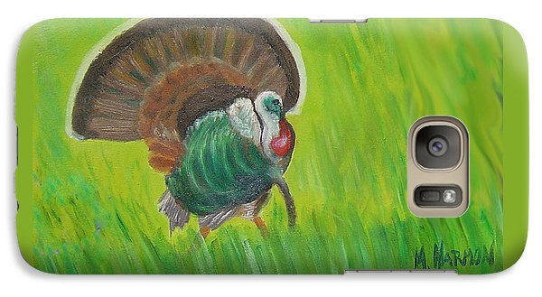 Galaxy Case featuring the painting Strutting Turkey In The Grass by Margaret Harmon