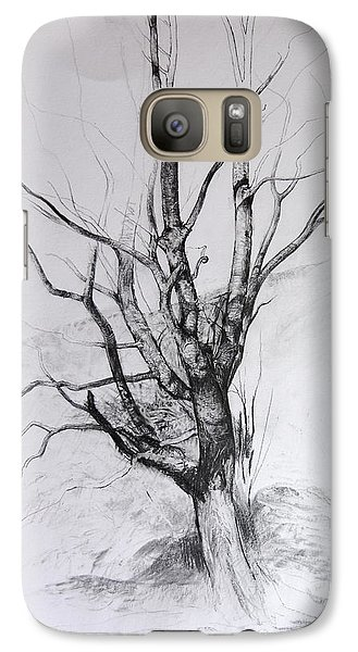 Galaxy Case featuring the drawing Study Of A Tree by Harry Robertson