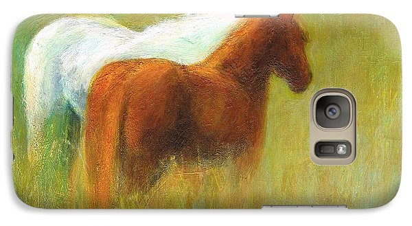 Galaxy Case featuring the painting Study Of Two Ponies by Frances Marino