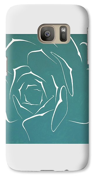 Galaxy Case featuring the painting Succulent In Turquoise by Ben Gertsberg