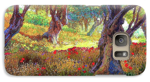 Tranquil Grove Of Poppies And Olive Trees Galaxy Case by Jane Small