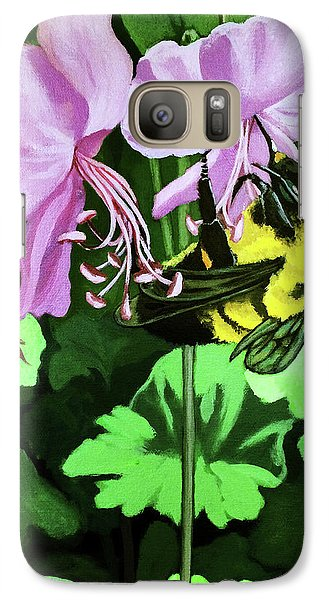 Galaxy Case featuring the painting Summer Garden Bumblebee And Flowers Nature Painting by Linda Apple