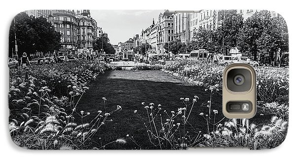 Galaxy Case featuring the photograph Summer Prague. Black And White by Jenny Rainbow