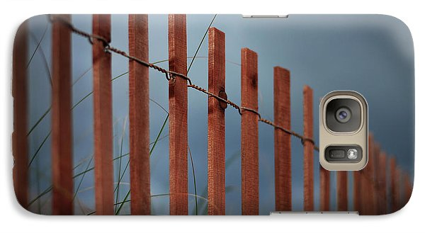Galaxy Case featuring the photograph Summer Storm Beach Fence by Laura Fasulo
