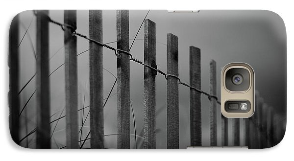 Galaxy Case featuring the photograph Summer Storm Beach Fence Mono by Laura Fasulo