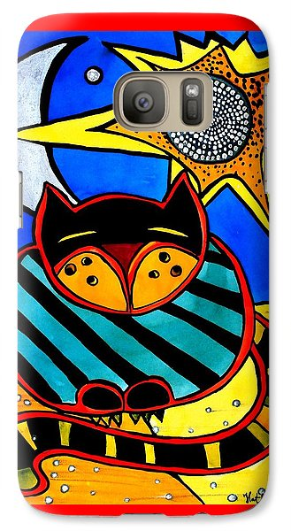 Galaxy Case featuring the painting Sun And Moon - Honourable Cat - Art By Dora Hathazi Mendes by Dora Hathazi Mendes