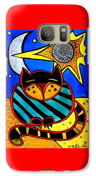Sun And Moon - Honourable Cat - Art By Dora Hathazi Mendes Galaxy S7 Case