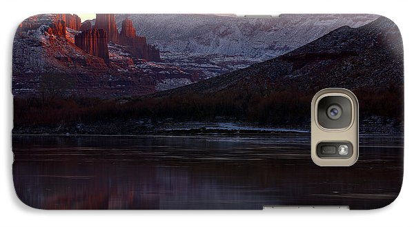 Galaxy Case featuring the photograph Sun Down At Fisher Towers by Adam Jewell