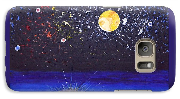 Galaxy Case featuring the painting Sun Moon And Stars by Donna Blossom