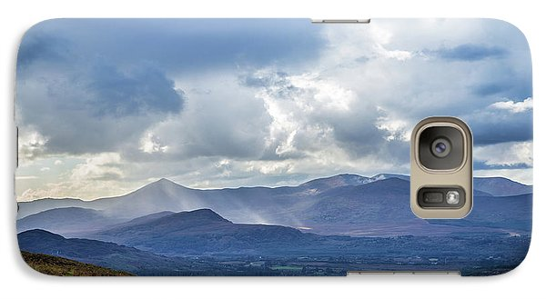 Galaxy Case featuring the photograph Sun Rays Piercing Through The Clouds Touching The Irish Landscap by Semmick Photo