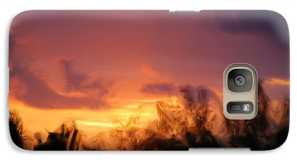 Galaxy Case featuring the painting Sun Set by Jan Daniels
