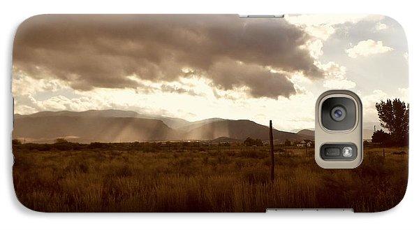 Galaxy Case featuring the photograph Sun Beams Over The Mountain by Deborah Moen