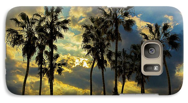 Galaxy Case featuring the photograph Sunbeams And Palm Trees By Cabrillo Beach by Randall Nyhof