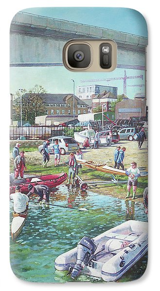 Galaxy Case featuring the painting Sunday Morning Rowing At Itchen Bridge, Southampton  by Martin Davey
