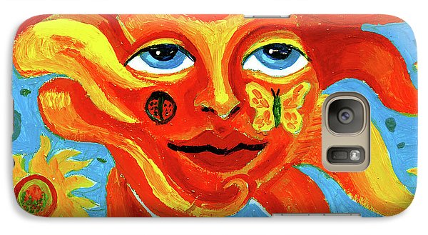 Galaxy Case featuring the painting Sunface With Butterfly And Horse by Genevieve Esson