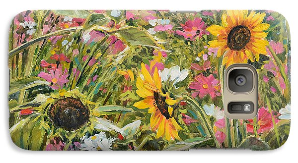 Galaxy Case featuring the painting Sunflower And Cosmos by Steve Spencer