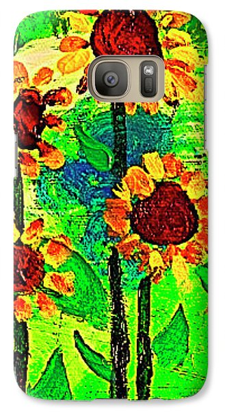 Galaxy Case featuring the painting Sunflower Closeup by Angela Annas