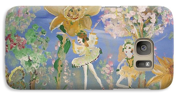 Galaxy Case featuring the painting Sunflower Fairies by Judith Desrosiers
