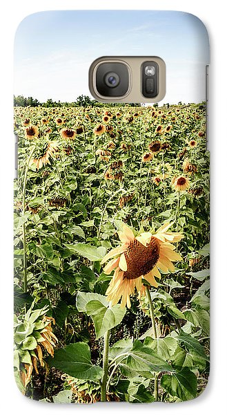 Galaxy Case featuring the photograph Sunflower Field by Alexey Stiop