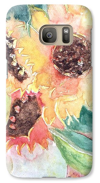 Galaxy Case featuring the painting Sunflower Glory by Renate Nadi Wesley