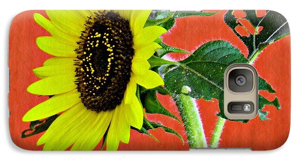 Galaxy Case featuring the photograph Sunflower On Red 2 by Sarah Loft
