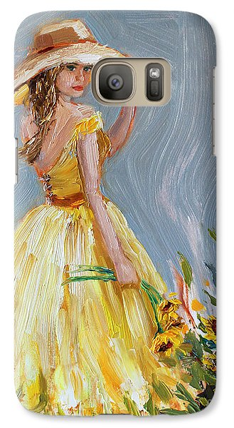 Galaxy Case featuring the painting Sunflower Seduction by Jennifer Beaudet