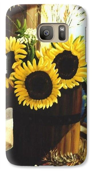 Galaxy Case featuring the painting Sunflower Sill by Renate Nadi Wesley