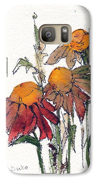 Galaxy Case featuring the painting Sunflower Trio #1 by Anne Duke