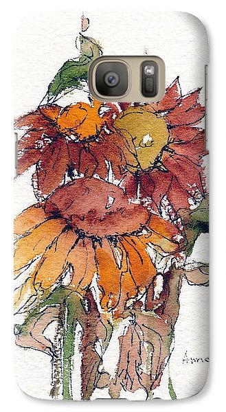 Galaxy Case featuring the painting Sunflower Trio #2 by Anne Duke