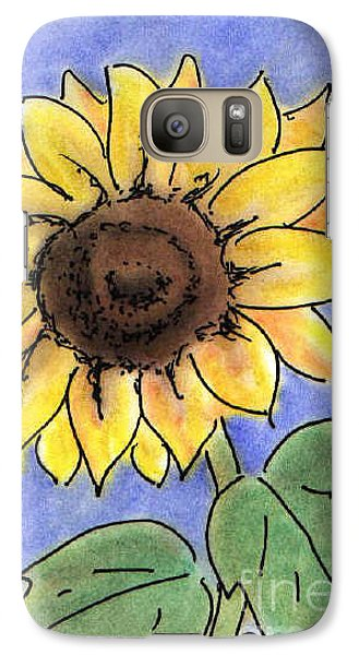Galaxy Case featuring the drawing Sunflower by Vonda Lawson-Rosa