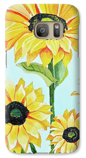 Galaxy Case featuring the painting Sunflowers  by Donna Blossom