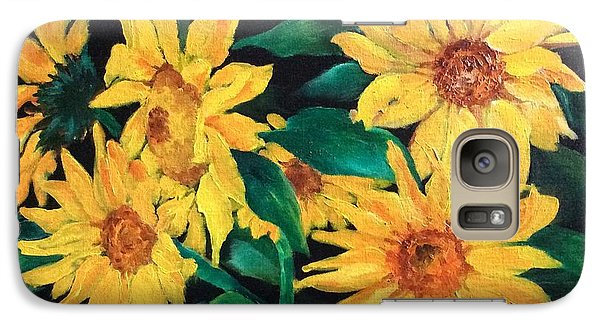 Galaxy Case featuring the painting Sunflowers by Ellen Canfield