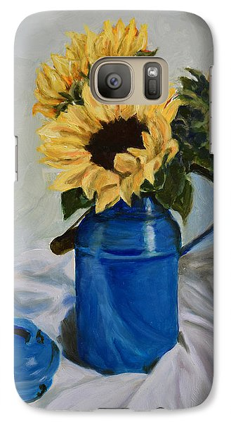 Galaxy Case featuring the painting Sunflowers In Milkcan by Sandra Nardone