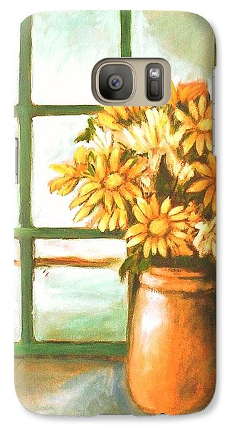 Galaxy S7 Case featuring the painting Sunflowers In Window by Winsome Gunning